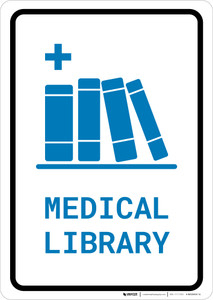 Medical Library with Icon Portrait v2 - Wall Sign