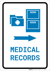 Medical Records Right Arrow with Icon Portrait v2 - Wall Sign