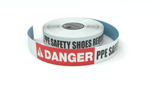 Danger: PPE Safety Shoes Required - Inline Printed Floor Marking Tape