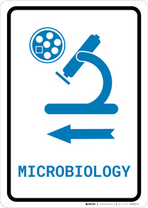 Microbiology Left Arrow with Icon Portrait v2 - Wall Sign