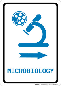 Microbiology Right Arrow with Icon Portrait v2 - Wall Sign