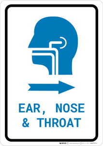 Ears, Nose, and Throat (ENT) Right Arrow with Icon Portrait v2 - Wall Sign