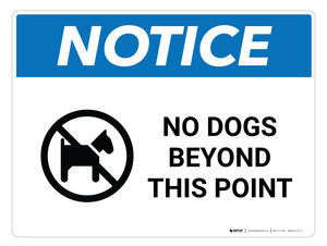Notice: No Dogs Beyond This Point - Wall Sign