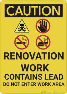 Caution: Renovation Work Contains Lead Do Not enter - Wall Sign