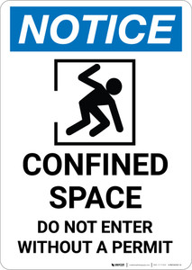 Notice: Confined Space Do Not Enter Without Permit Confined Person Icon - Portrait Wall Sign