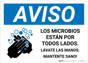Notice: Stay Healthy Wash Your Hands Spanish with Icon Landscape - Wall Sign
