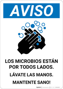Notice: Stay Healthy Wash Your Hands Spanish with Icon Portrait - Wall Sign