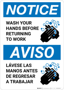 Notice: Wash Hands Before Returning To Work Bilingual with Icon Portrait - Wall Sign