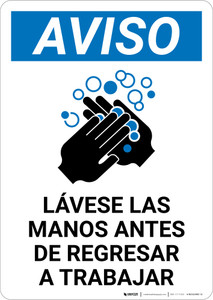 Notice: Wash Hands Before Returning To Work Spanish with Icon Portrait - Wall Sign