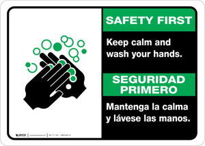 Safety First: Keep Calm and Wash Your Hands Bilingual with Icon Landscape - Wall Sign