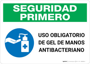 Safety First: Mandatory Use Of Anti-Bacterial Hand Gel Spanish With Icon Landscape - Wall Sign