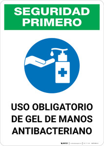 Safety First: Mandatory Use Of Anti-Bacterial Hand Gel Spanish With Icon Portrait - Wall Sign
