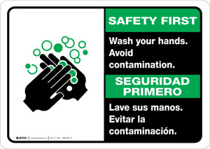 Safety First: Wash Your Hands Avoid Contamination Bilingual with Icon Landscape - Wall Sign