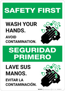 Safety First: Wash Your Hands Avoid Contamination Bilingual with Icon Portrait - Wall Sign