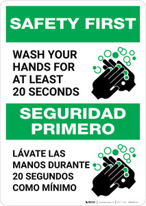 Safety First: Wash Your Hands For At Least 20 Seconds Bilingual with Icon Portrait - Wall Sign