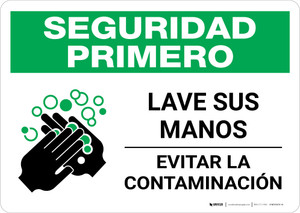 Safety First: Wash Your Hands Spanish with Icon Landscape - Wall Sign