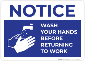 Notice: Wash Your Hands Before Returning To Work with Icon Landscape - Wall Sign