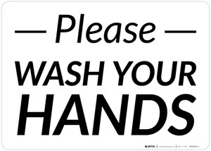 Please Wash Your Hands Landscape - Wall Sign