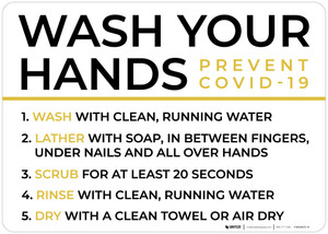 Wash Your Hands Prevent COVID-19 Landscape - Wall Sign