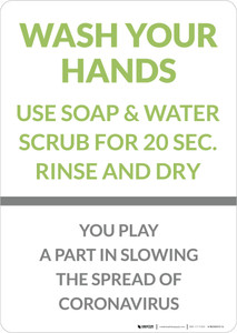 Wash Your Hands You Play A Part In Slowing The Spread Portrait - Wall Sign