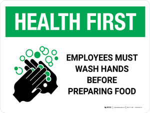 Health First Portrait Employees Wash Hands Before Preparing Food with Icon Landscape - Wall Sign
