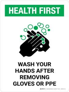 Health First Wash Your Hands After Removing PPE with Icon Portrait - Wall Sign