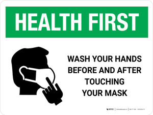 Health First Wash Hands Before & After Touching Mask with Icon Landscape - Wall Sign