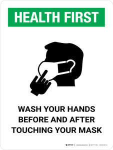 Health First Wash Hands Before & After Touching Mask with Icon Portrait - Wall Sign