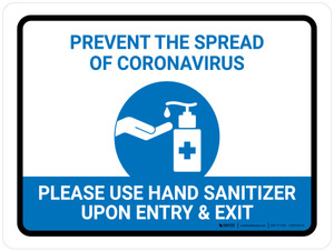 Prevent The Spread Of Coronavirus - Please Use Hand Sanitizer Landscape - Wall Sign