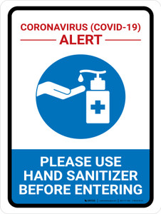 Coronavirus Alert - Please Use Hand Sanitizer Portrait - Wall Sign
