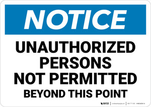 Notice: Unauthorized Persons No Permitteed Beyond This Point - Wall Sign