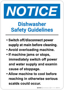 Notice: Dishwasher Safety Guidelines - Wall Sign