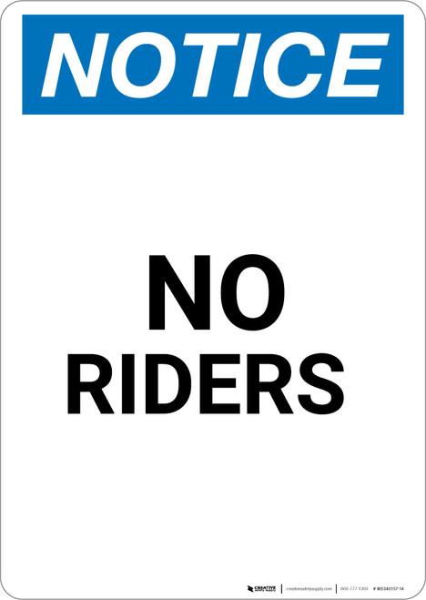Notice: No Riders - Portrait Wall Sign