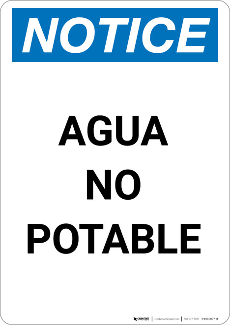 Notice: Non Potable Water - Spanish - Portrait Wall Sign
