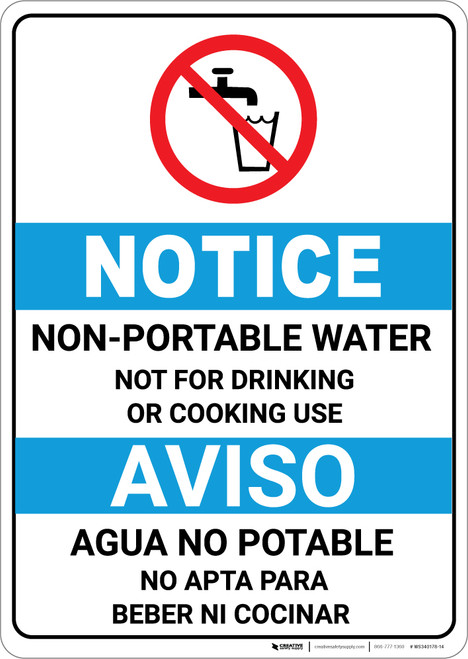 Notice: Non Potable Water Bilingual Spanish ANSI with Icon - Portrait Wall Sign