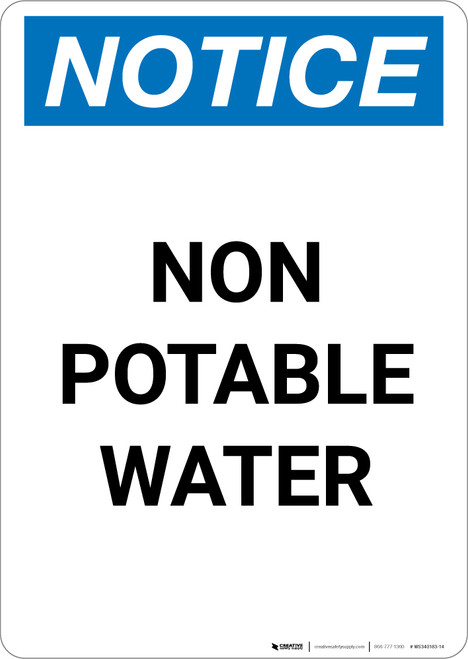 Notice: Non-Potable Water - Portrait Wall Sign