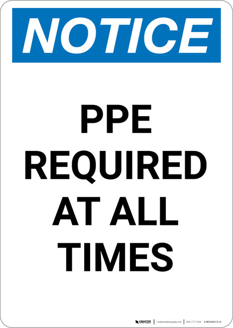 Notice: PPE Required At All Times - Portrait Wall Sign