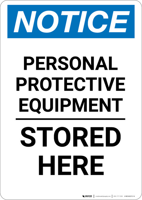Notice: PPE Stored Here - Portrait Wall Sign