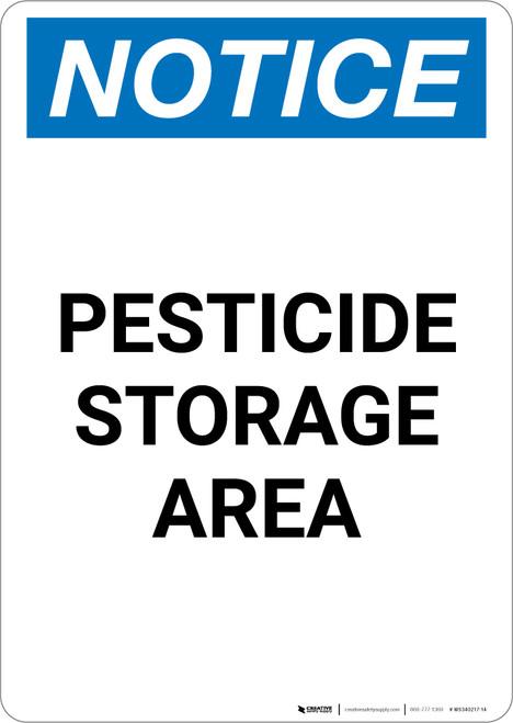 Notice: Pesticide Storage Area - Portrait Wall Sign