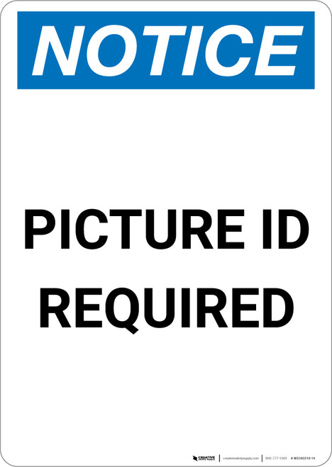Notice: Picture ID Required - Portrait Wall Sign