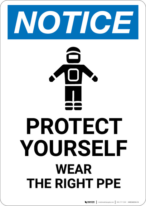 Notice: Protect Yourself Wear PPE with Icon - Portrait Wall Sign