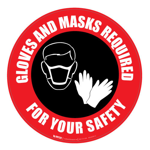 Gloves and Masks Required - Red - Floor Sign