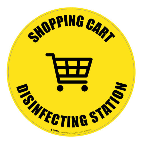 Shopping Cart Disinfecting Station - Floor Sign