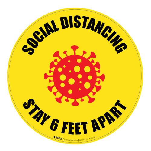 Social Distancing - Stay 6 Feet Apart - Floor Sign