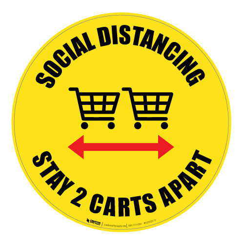 Social Distancing - Stay 2 Carts Apart - Yellow - Floor Sign