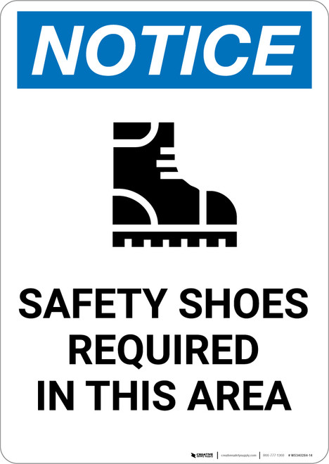 Notice: Safety Shoes Required In This Area with Icon - Portrait Wall Sign