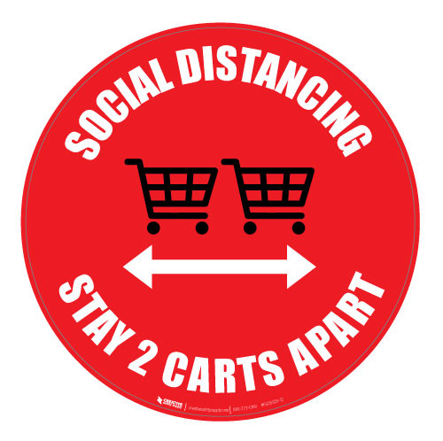 Social Distancing - Stay 2 Carts Apart - Red - Floor Sign