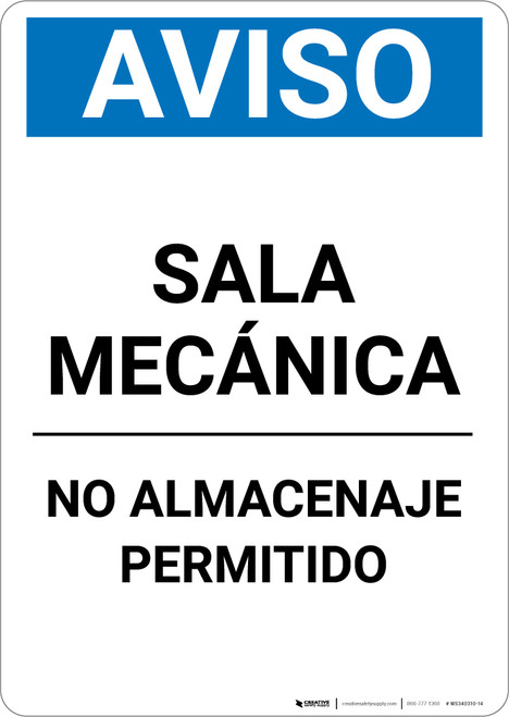 Notice: Spanish Mechanical Room No Storage - Portrait Wall Sign