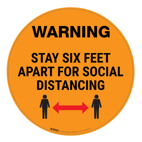 Warning - Stay Six Feet Apart - Orange - Floor Sign