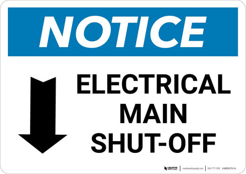 Notice: Electrical Main Shut-Off Landscape with Down Arrow